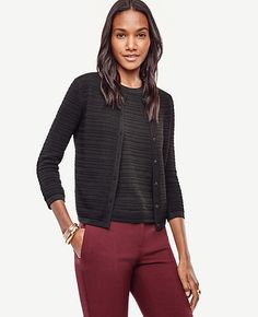 Image of Texture Cropped Ann Cardigan