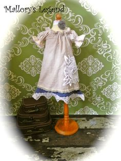 Addison Dress Hand Dyed ShaBby ChiC Two Toned Vintage Lace Pearls One Of A KinD 12M-Girls 14 Yrs