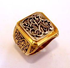 Gold Signet Ring Handmade Rings, Handmade Jewelry, Wax Seal Ring, Steampunk Accessories, Monogram Jewelry, Coin Ring, Jewelry Photography, Signet Ring, Ring Bracelet