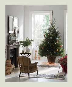Farrow & Ball Dimpse 277 - Living Room walls painted in Dimpse Farrow Ball, Farrow And Ball Paint, Christmas Tree In Basket, Noel Christmas, All Things Christmas, Simple Christmas, Beautiful Christmas, Room Colors, Wall Colors