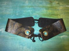 Embossed Leaf Leather HEADBAND with Grommets by BecomingDesigns