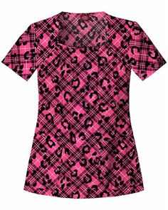 Dickies Medical Scrubs 82825C Womens Jr Fit I Love Plaid Square Neck Scrub Top Plaid To Have Found You XSmall ** Click image to review more details.
