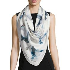 Alexander Mcqueen Bleached Hummingbird Square Silk Scarf ($385) ❤ liked on Polyvore featuring accessories, scarves, silk wrap shawl, lightweight scarves, wrap shawl, patterned scarves and square silk scarves