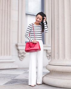 Pin for Later: 33 Outfits Every Petite Woman Should Try A Striped Sweater, Tailored Wide-Leg Pants, and Heels
