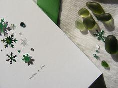Green sea glass, star, die cut christmas card 2013