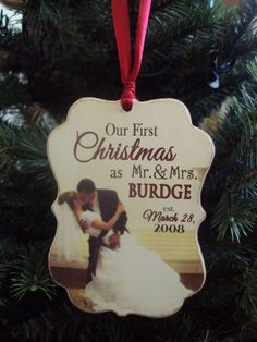 Our First Christmas Ornament, Anniversary, Couple's, Newlyweds Wooden Christmas Ornament, Wedding Ornament, Personalized with Photo Ornament...