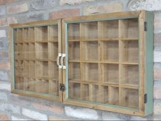 Wall storage unit with lots of storage spaces. Made to look rustic and inspiration taken from vintage medicine cabinets. Shop our full collection of Storage here at Vinterior Wall Mounted Display Cabinets, Display Shelves, Display Case, Cupboard Shelves, Storage Cabinets, Shelf, Rustic Room, Rustic Walls, Shabby Chic Wall Unit