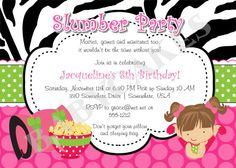 Slumber Party Invitation Sleepover Pajama Party  by jcbabycakes, $12.00