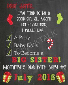 Dear Santa Christmas List Chalkboard  Big by ChalkTalkDesigns