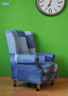 chair redone in old denim??! This could work if done right...or it could go horribly wrong.
