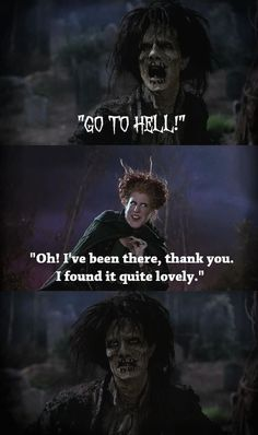 Everyone remembers the movie Hocus Pocus and makes it their mission to watch every Halloween. But there are plenty of Hocus Pocus quotes you can use year-round to describe the most mundane parts of life. Best Halloween Movies, Halloween Quotes, Cool Halloween Costumes, Couple Halloween, Halloween Humor, Halloween Makeup, Halloween Table, Halloween Signs, Halloween Stuff