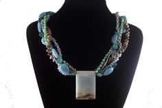 SALE.  Necklace & Earrings 5Strand Amazonite, Green Opal, Pearl, MOP and Seed Bead by colorsofthesouthwest on Etsy