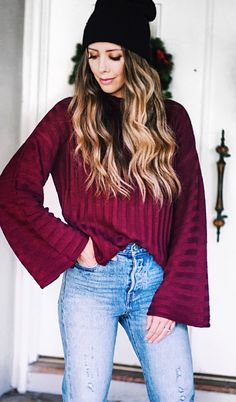 maroon trumpet long-sleeved top with blue denim fitted jeans Long Sleeve Tops, Long Sleeve Shirts, Classy Winter Outfits, Maroon Sweater, Autumn Fashion Casual, Blue Denim Jeans, Winter Wear, Jean Outfits, Style Inspiration