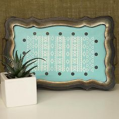 Painted, stenciled tray with Aztec pattern -- Spice up a coffee table with an Aztec-style painted tray.  #decoartprojects #stencils