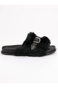 Čierne papuče s kožušinou a prackou CnB Slippers, Adidas, Shoes, Fashion, Moda, Zapatos, Shoes Outlet, Fashion Styles, Slipper