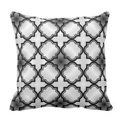 Moroccan Black Grey Pattern Throw Pillow