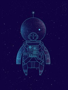 "Help Ink is a project selling posters to help a range of charities, with a poster by a new artist available every two weeks. This illustration called ""The Traveler"" is by Richard Perez. Art And Illustration, Illustrations Posters, Astronaut Illustration, Graphic Art, Graphic Design, Illustrators, Cool Art, Concept Art, Creations"