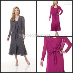Wholesale Sheath A Line Tea Length V Neck Chiffon Simple 2013 New Mother of The Bride Dress With Jacket Shawl, Free shipping, $107.52-119.99/Piece | DHgate
