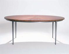 Elliptical Dining Table - Custom Size, Blackened Steel Base