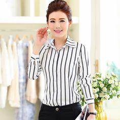 Blusas femeninas 2016 primavera mujer Blusas de manga larga elegante señora de la oficina de rayas camisetas mujeres camisetas tallas grandes Blusa ropa de trabajo