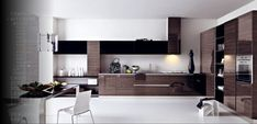 Colorful Modern Italian Kitchen Inspiration - White and Wooden Kitchen Cabinet