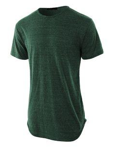 LE3NO Mens Lightweight Hipster Hip Hop Longline Crewneck T Shirt (CLEARANCE) 3b2e7fd139b