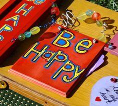 Sign, Be Happy, Boho Chic Bohemian Decor, Encouragement, Inspiration Sign, Artsy Sign, Red Funky Sign, Boho Sign, Handmade Gift, Hostess by CasaKarmaDecor on Etsy