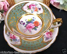 PARAGON TEA CUP AND SAUCER LOVELY SAGE GREEN  & PAINTED ROSES TEACUP PATTERN