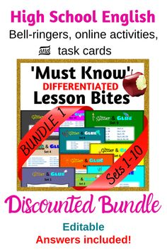 Multiple uses! Over 800 pages of activities, answers and more designed to give teachers confidence that they're teaching all the core skills in English/ELA. Close reading, study skills, critical thinking and more. Literacy Strategies, Reading Strategies, Bell Ringers, Ela Classroom, High School English, Narrative Writing, Early Finishers, Parts Of Speech, Figurative Language