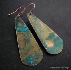 Teardrop verdigris copper earrings turquoise by JudysDesigns, $24.99  #dteam