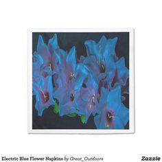 Electric Blue Flower Napkins