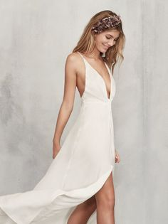 For those brides out there who aren't down with looking like a cupcake on their big day - the Dima Dress. https://www.thereformation.com/products/dima-dress-ivory?utm_source=pinterest&utm_medium=organic&utm_campaign=PinterestOwnedPins