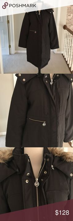 Michael Kors winter coat Excellent used condition brown Michael Kors winter coat. Detachable faux fur hood. Worn maybe twice. I just do not wear a ton of brown. Length of coat is longer, will cover your behind. Michael Kors Jackets & Coats