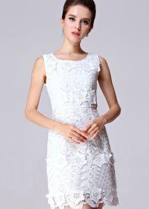 White Sleeveless Applique Slim Lace Dress