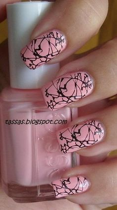 nails, pink, black marble design