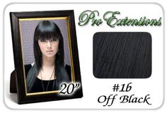 "20"" Inch #1b Off Black Pro Extensions Premier REMI Human Hair Extensions by ProExtensions. $149.99. Clips On To Existing Hair.. 100% human hair. No synthetic material.. Beautiful Hair In Seconds.. 20"" x 39"" clip in hair extensions.. Increase length and fullness.. This Pro Extensions clip in hair extension set is Colored #1b Off Black. Pro Extensions are 100% human hair extensions. This set of hair extensions is 20"" long and 39"" wide. This hair extensions set is G..."