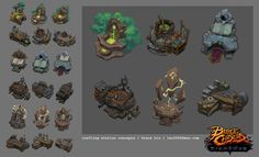 Crafting stations and resource node props I've concepted and built for Battle Chasers: Night War. Also quite amazing to see them come to life in game with the help of our amazing animators. Environment Painting, Environment Design, Battle Chasers, Game Textures, Game Props, Game Concept Art, Game Assets, Visual Development, Game Design