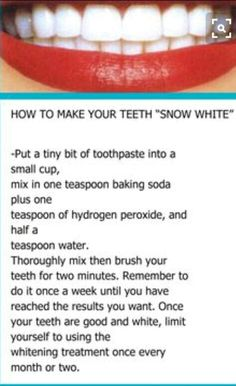 Top Oral Health Advice To Keep Your Teeth Healthy. The smile on your face is what people first notice about you, so caring for your teeth is very important. Unluckily, picking the best dental care tips migh Beauty Care, Beauty Skin, Face Beauty, Beauty Makeup, Women's Beauty, Diy Makeup, Makeup Ideas, Diy Beauté, Teeth Whitening Diy