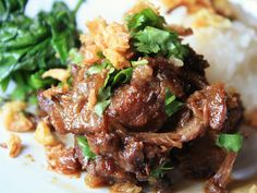 thai-style braised pork cheeks (this would be good using pork shoulder too! Pork Recipes, Asian Recipes, Cooking Recipes, French Recipes, Pork Cheeks, Asian Pork, Serious Eats, A Table, Recipes