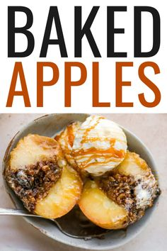 These cozy baked apples are filled with a buttery cinnamon sugar oat crumble and super easy to make. Enjoy warm with ice cream and a drizzle of date caramel sauce for the ultimate fall dessert! Healthy Thanksgiving Recipes, Good Healthy Recipes, Fall Recipes, Fall Desserts, Just Desserts, Dessert Recipes, Dessert Ideas, Apple Filling, Baked Oatmeal