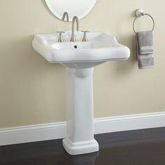 Corner Pedestal Sink, Modern Pedestal Sink, Pedestal Sink Bathroom, Bathroom Sink Design, Bathroom Faucets, Small Bathroom, Bathroom Ideas, Downstairs Bathroom, Bathroom Furniture