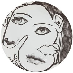 Fornasetti Plate ($138) ❤ liked on Polyvore featuring fillers, home, art, drawings, backgrounds and white