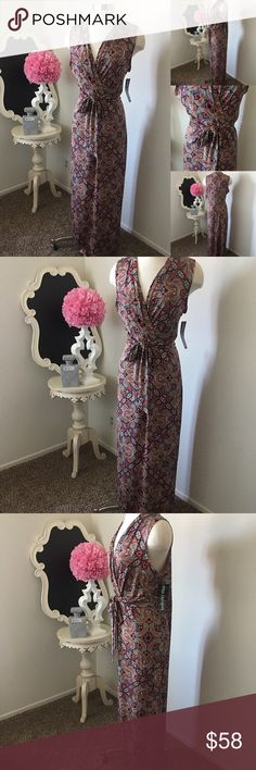 🌺 Nina Leonard  Gorgeous Print Maxi Dress 🌺 Nina Leonard  Gorgeous Print Maxi Dress -  Sleeveless Style - Front Cross V- Style - Front Tie - Beautiful Print - Dress is Not Lined  $68 - New w/ Tag Size : Large  Fabric : 95% Polyester - 5% Spandex  🌺 Accessories Not Included But Are also for Sale  Please Check out my Other Items in my GIRLe B Posh Shoppe'  Like us on FB   www.facebook.com/girleboutique Thanks For Looking & Always Let your Clothes get All the Attention 💋 ❌⭕️, Christina Nina…