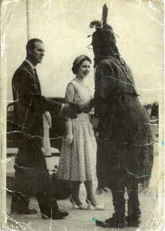1956: Queen Elizabeth II, Prince Phillip and Oba Akenzuwa II, the late King of Benin Kingdom.  http://www.retronaut.com/2013/05/the-queen-meets-the-oba-of-benin/
