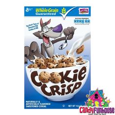 Cookie Crisp Cereal is perfect for eating dessert for breakfast! This Retro American Cereal is basically mini chocolate chip cookies you can eat like cereal! Cookie Crisp Cereal, Cereal Cookies, Puffs Cereal, Chocolate Yogurt, Chocolate Chip Cookies, Cocoa Puffs, Cookie Flavors, Best Candy, Breakfast Cereal