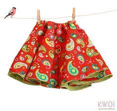 Toddler full skirt sewing pattern - reversible girls skirt pdf  pattern - sizes 6m to 9 years