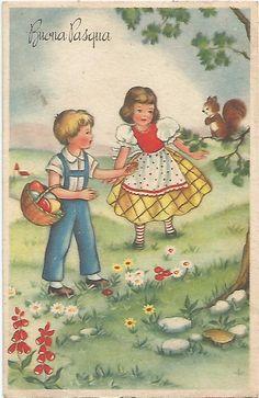 C3 Cartolina VG 1958 Augurale Buona Pasqua Bambini | eBay