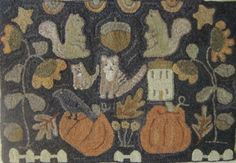 WM - OCTOBER GARDEN - rug hooking pattern on linen.  Love the tall flowers