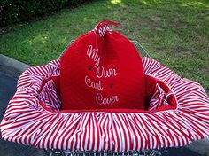 Shopping Cart Cover for - Dogs - Pets - Custom Colors - Embroidery- Lampwork Bead Key Holder - pinned by pin4etsy.com