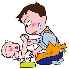 赤ちゃんのおむつを替えるパパ 頑張ってます! イラスト